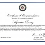 Kyndra's Certificate of Commendation from Senator Brian Schatz